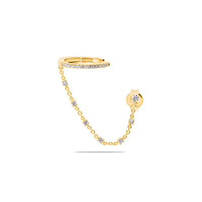 Single Oval Ear Cuff with Diamond Chain in Yellow Gold