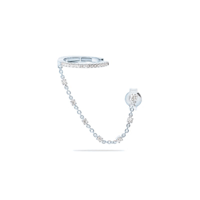 Single Oval Ear Cuff with Diamond Chain in White Gold