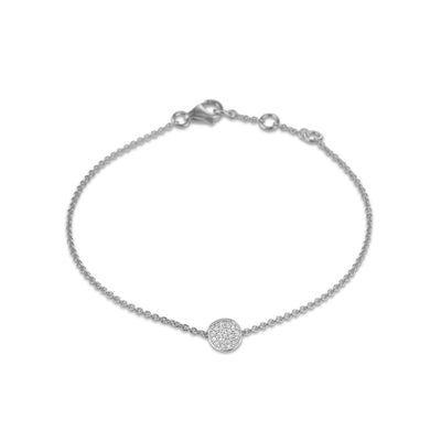 Circle Bracelet in White Gold with Diamonds