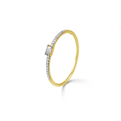 Adjacent Ring in Yellow Gold with Diamonds