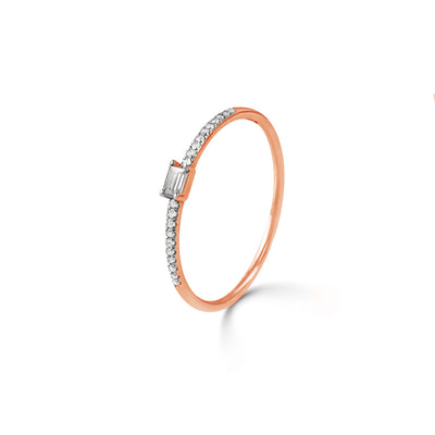 Adjacent Ring in Rose Gold with Diamond