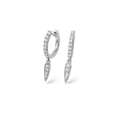 Force Huggies in White Gold with Diamonds
