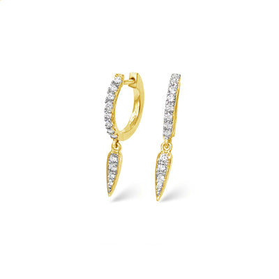Force Huggies in Yellow Gold with Diamonds