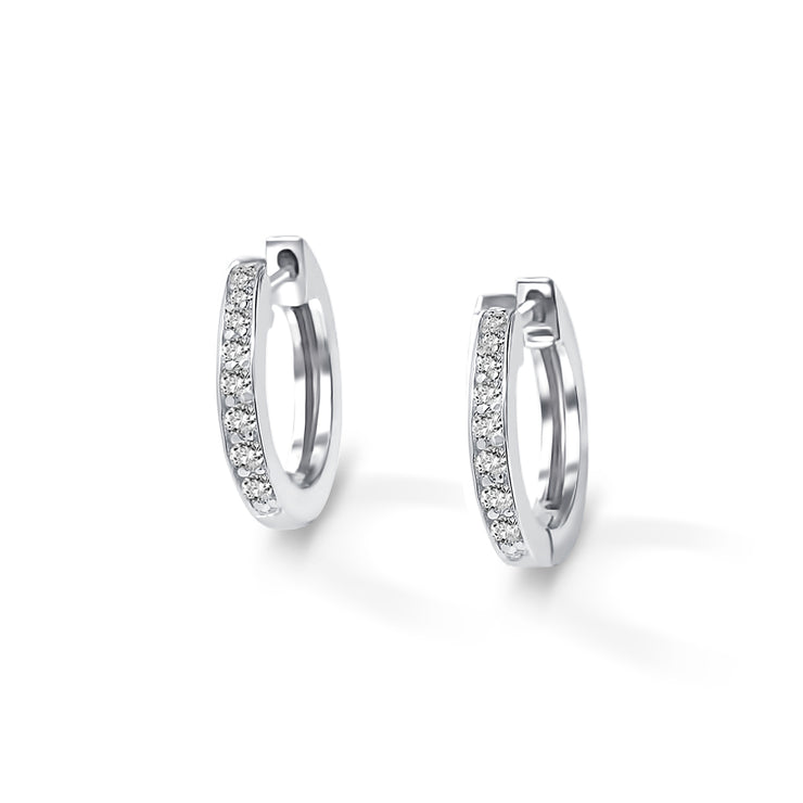 Halo Earrings in White Gold with Diamonds