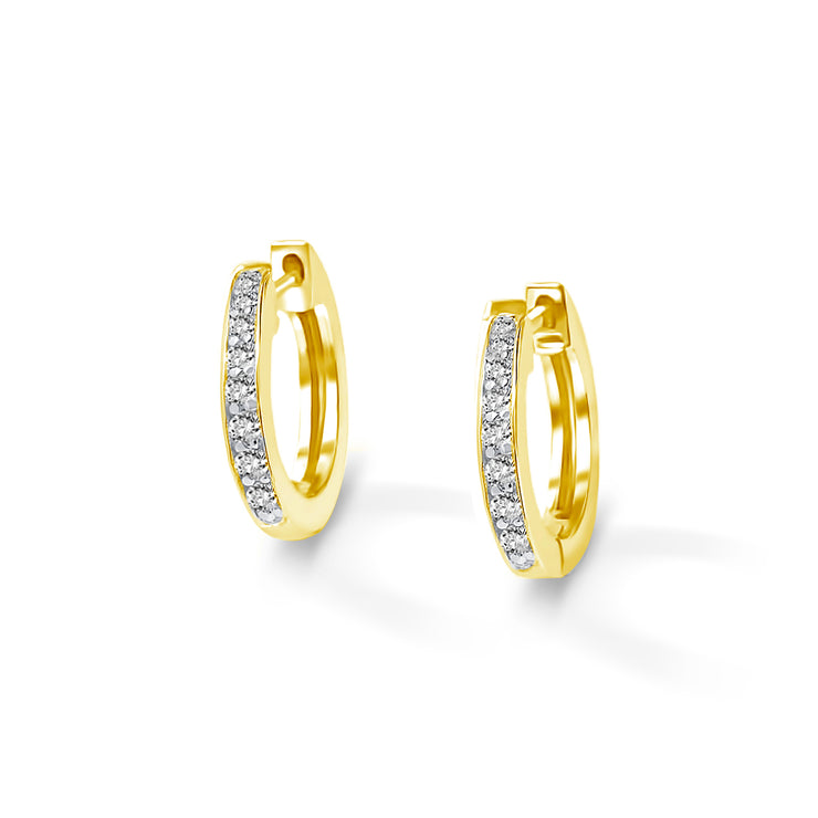 Halo Earrings in Yellow Gold with Diamonds
