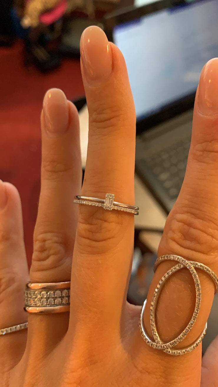 Stackable Baguette Ring in White Gold with Diamond