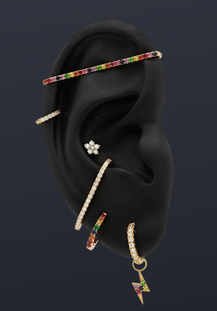 Rainbow Ear Bar in Rose Gold with Coloured Stones