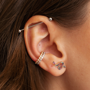 Single Bezel Ear Cuff in White Gold with Diamonds
