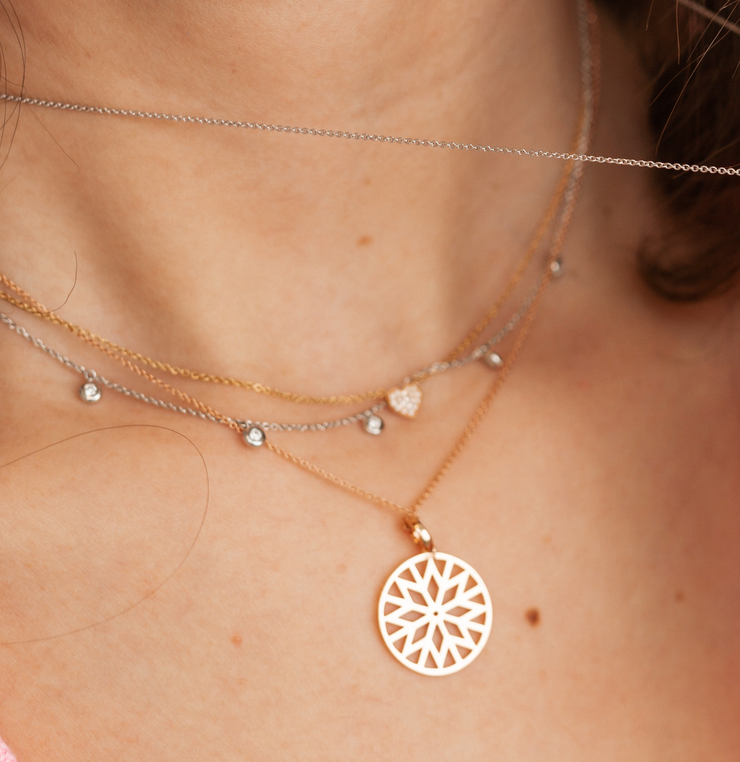 Dots Necklace in Rose Gold with Diamonds