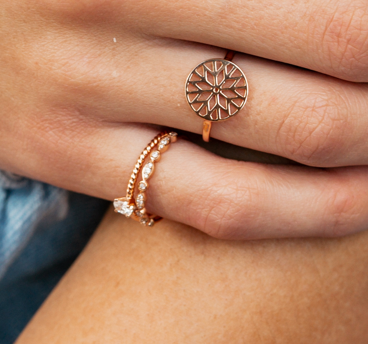 Stackable Situation Ring in Rose Gold with Diamond