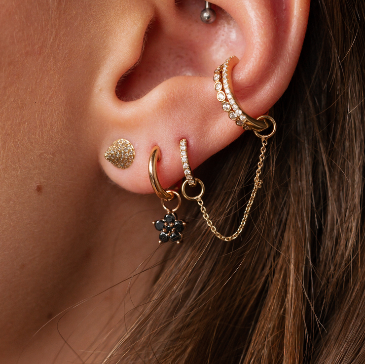 Bullet Studded Earring in Yellow Gold with Diamonds