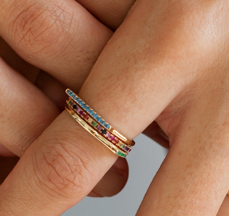 Rainbow Eternity Stackable Ring in White Gold with Diamonds