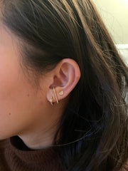 Heart Ear Studs in Rose Gold with Diamonds