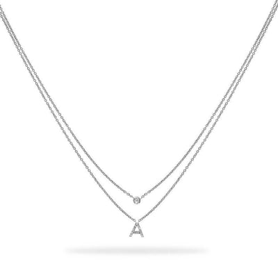 Layered Initial Necklace in White Gold with Diamond