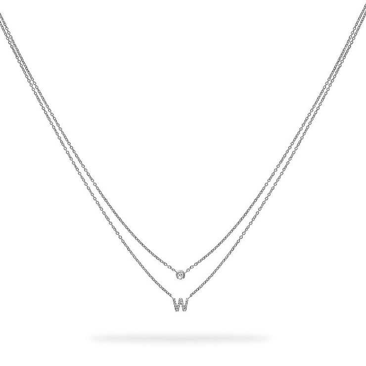 Layered Initial Necklace in White Gold with Diamonds