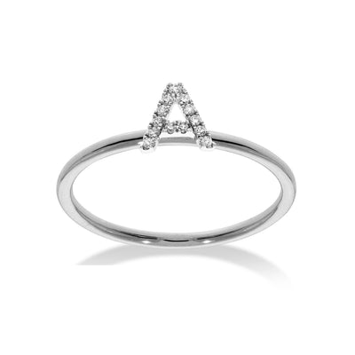 Stackable Initial Ring in White Gold with Diamond A