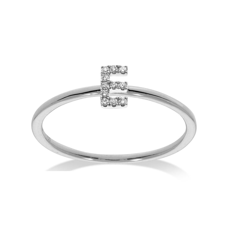 Stackable Initial Ring in White Gold with Diamonds