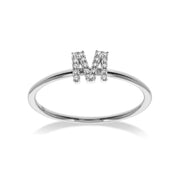 Stackable Initial Ring in White Gold with Diamond