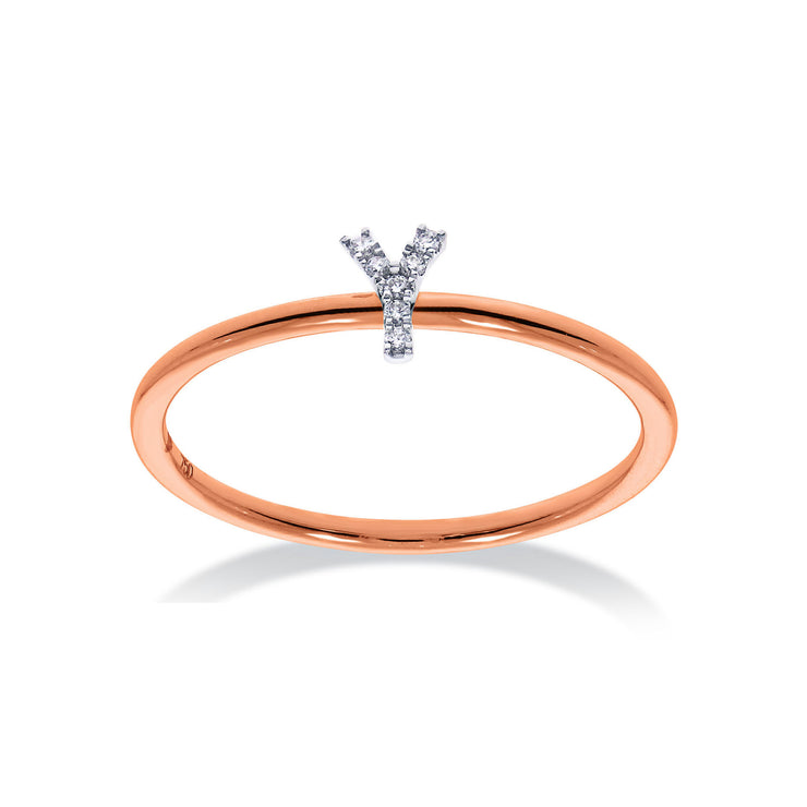 Stackable Initial Ring in Rose & White Gold with Diamond