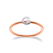 Stackable Initial Ring in Rose & White Gold