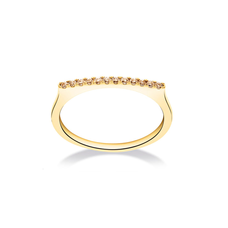 Stackable Bar Ring in Yellow Gold with Brown Diamonds