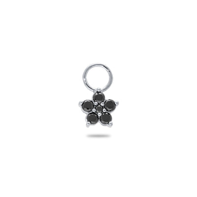 Floral Huggie Charm in White Gold with Black Diamonds