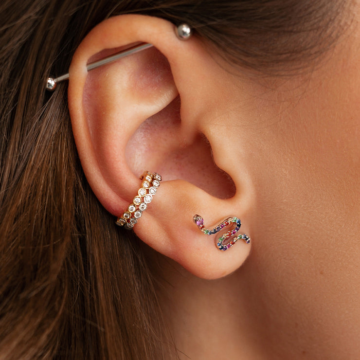Single Rainbow Snakey Ear Stud in Rose Gold with Coloured Gemstones