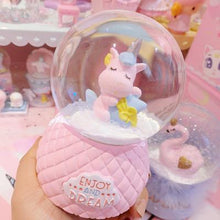 Load image into Gallery viewer, Unicorn Snow Crystal Ball Music Box