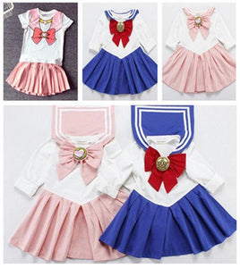Kids Girls Sailor Moon Cosplay Seifuku Costume Princess Dress