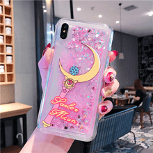 Load image into Gallery viewer, Sailor Senshi Moon Glitter Quicksand Moon Star Stick Phone Case