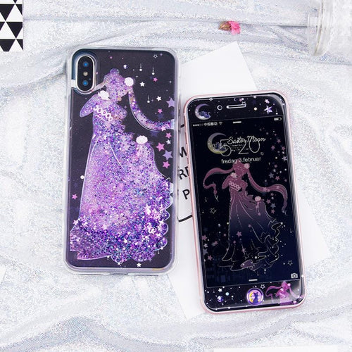Senshi Moon Serenity Quicksand Liquid Glitter Phone Case