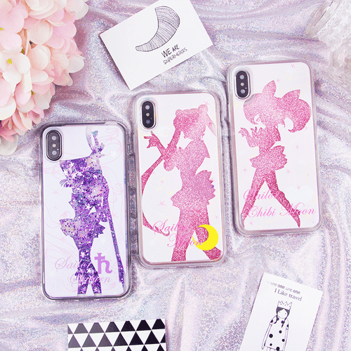 Sailor Moon Chibi Moon Sailor Saturn Quicksand Liquid Glitter Phone Case