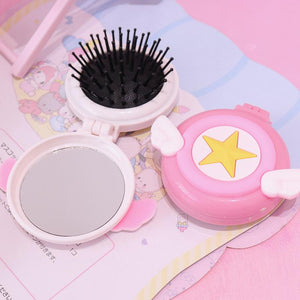 Air Cushion Comb/Massage Comb With Makeup Mirror/ Portable Folding Comb