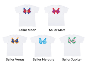 Senshi Moon Soldiers Cotton Printing Bowknot Short Sleeve T-shirt