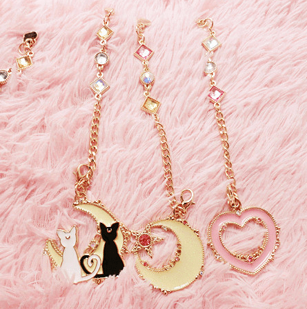 Sailor Moon Cats/Moon/Heart Pendant