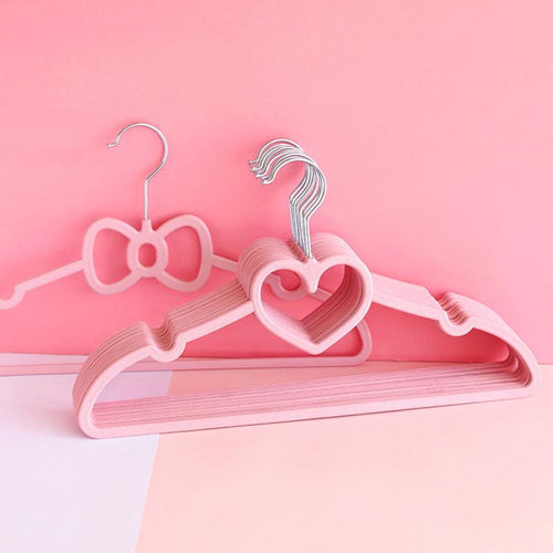 10PCS Heart-shape Bowknot Clothes Hanger Rack