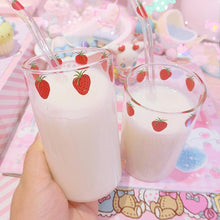 Load image into Gallery viewer, Strawberry Cat Paw Milk Straw Glass Cup
