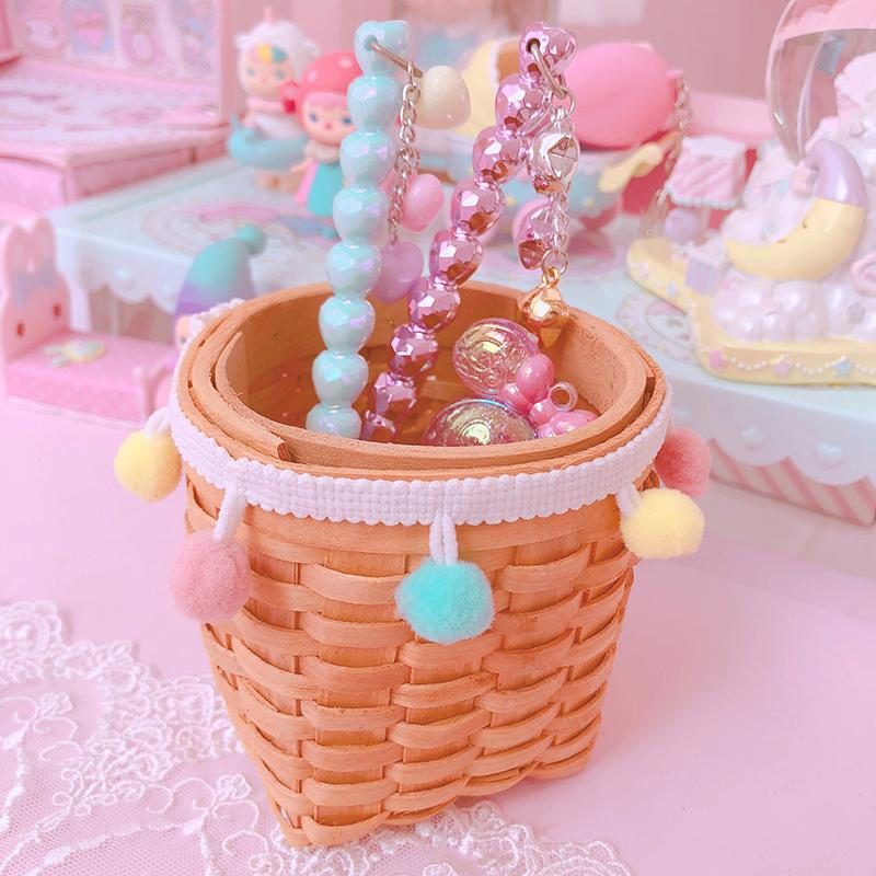 Macaron Wool Ball Wooden Storage Bucket