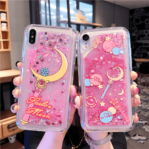 Sailor Senshi Moon Glitter Quicksand Moon Star Stick Phone Case