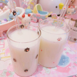 Strawberry Cat Paw Milk Straw Glass Cup