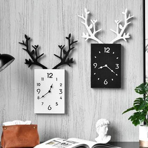 INS Creative  Leaves Wooden Square Clock