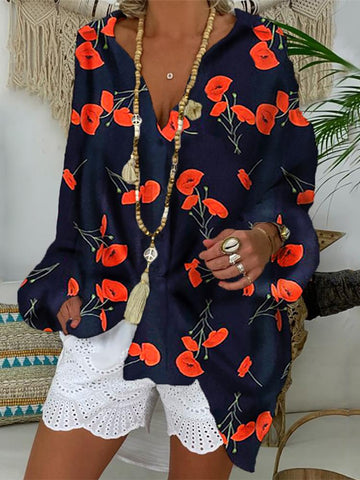Beach Printed Color Vacation Deep V Collar  Blouse