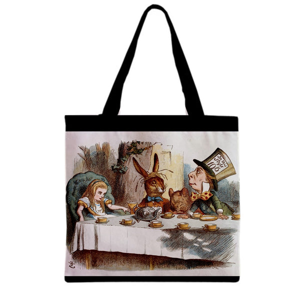Alice In Wonderland Tea Party Art Canvas Grocery Shopping Book Tote Bag