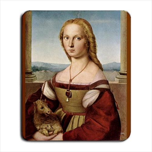 Portrait Of A Lady With A Unicorn Raphael Art Computer Mat Mouse Pad