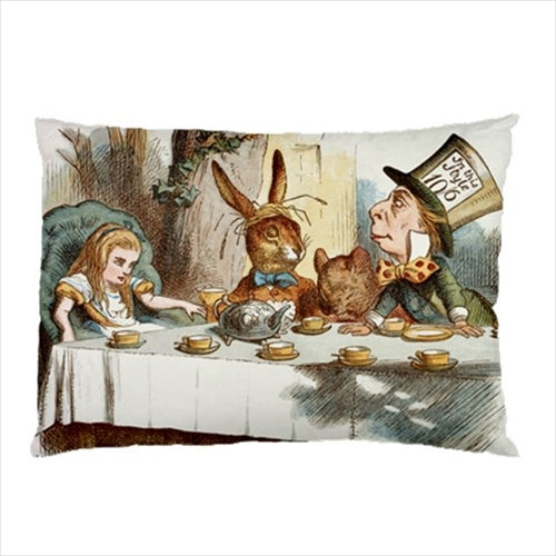 Alice In Wonderland March Hare Mad Hatter Tea Party Art Pillow Case