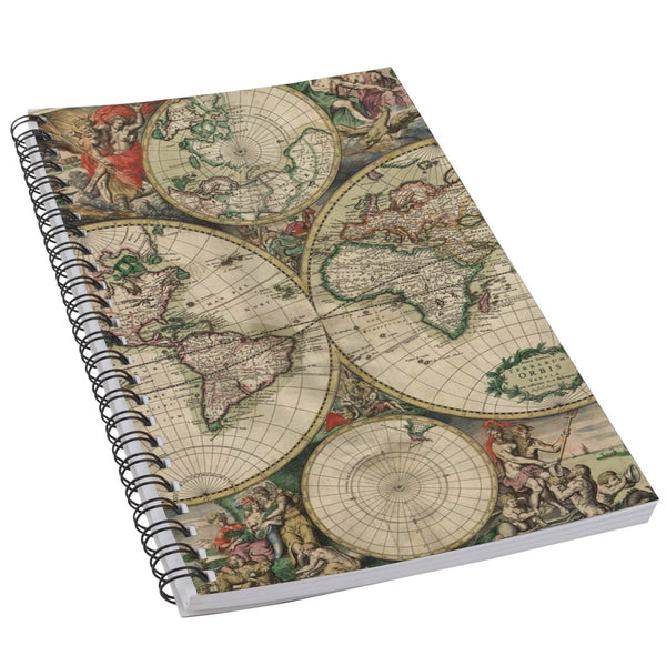 Vintage World Map Art 50 Page Lined Spiral Notebook