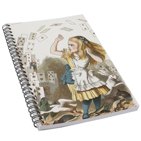 Alice In Wonderland Falling Cards Art 50 Page Lined Spiral Notebook