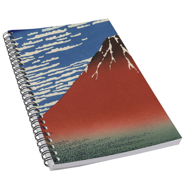 Red Mount Fuji Fine Wind Clear Morning Japanese Hokusai Art 50 Page Lined Spiral Notebook
