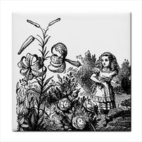 Alice In Wonderland In The Garden Flower Art Ceramic Tile