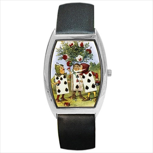 Alice In Wonderland Painting The Roses Red Art Barrel Style Wristwatch Unisex Watch